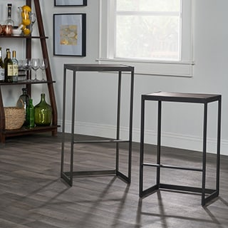 Kosas Collections Hand-finished Charles Grey Reclaimed Pine and Iron 24-inch Counterstool