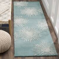Safavieh Soho Handmade Contemporary Burst Light Teal/ Multi Wool Runner Rug