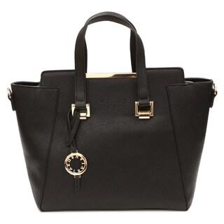 Suzy Levian Saffiano Faux Leather Satchel Handbag