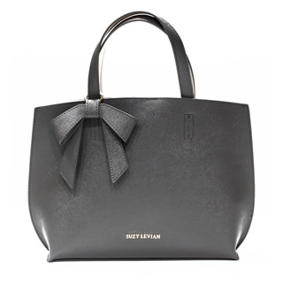Suzy Levian Saffiano Faux Leather Mini Tote Handbag with Bow