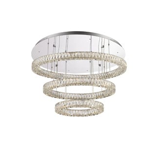 Lumenno Alize Collection Chrome/Crystal 3-tier Dimmmable LED Pendant/Flush Mount Light Fixture