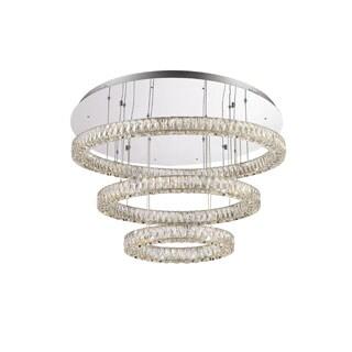 Lumenno Alize Collection Chrome/Crystal 3-tier Dimmmable LED Pendant/Flush Mount Light Fixture
