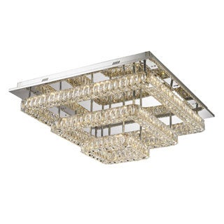 Lumenno Gibson Collection Chrome-finished Steel/ Crystal 3-tier Flush Mount Chandelier