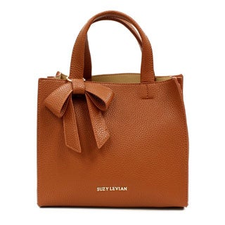 Suzy Levian Pebbled Faux Leather Satchel with Bow