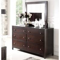 Abbyson Clarkston Espresso 6 Drawer Dresser and Mirror