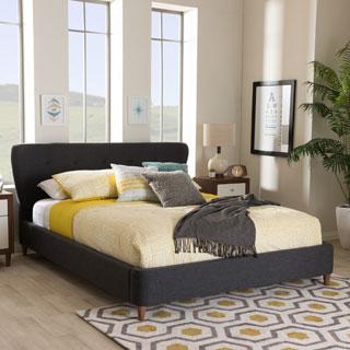 Baxton Studio Stamatia Mid-Century Modern Dark Grey Fabric Upholstered Platform Bed