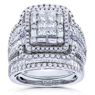 Annello by Kobelli 14k White Gold 2 1/2ct TDW Diamond Composite Rectangular Frame Bridal Rings Set (G-H, I1-I2)