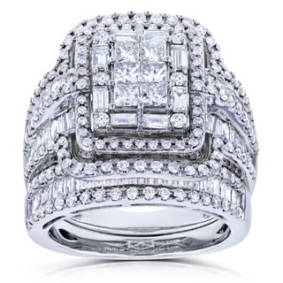Annello by Kobelli 14k White Gold 2 1/2ct TDW Diamond Composite Rectangular Frame Bridal Rings Set
