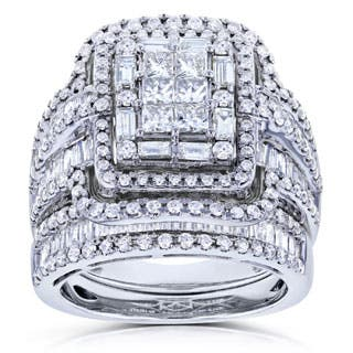 annello by kobelli 14k white gold 2 12ct tdw diamond composite rectangular frame bridal - Wedding Set Rings