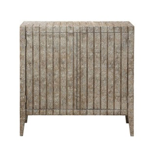 Hand-painted Distressed Taupe Finish Wooden Bar and Wine Cabinet