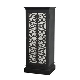 Distressed Black Hardwood Hand-painted Bar and Wine Cabinet