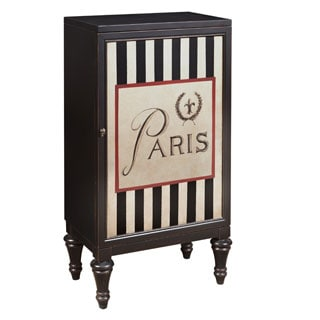Black Striped Handpainted Distressed Finish Bar and Wine Cabinet