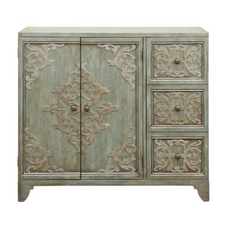 Distressed Pale Green and Gold Hardwood Hand-painted Bar and Wine Cabinet