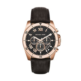 Michael Kors Men's MK8544 Brecken Chronograph Black Dial Black Leather Watch