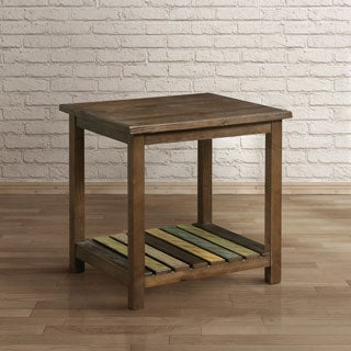 Furniture of America Katrine Country Style Slatted Brown Cherry End Table