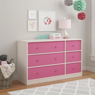 Ameriwood Home Applegate Storage Chest with 6 Pink Fabric Bins by Cosco