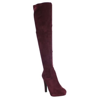 Liliana Women's Faux Suede Sexy Stiletto Heel Over Knee High Platform Stretch Boots