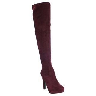 Liliana Women's Faux Suede Sexy Stiletto Heel Over Knee High Platform Stretch Boots