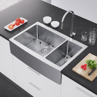 Exclusive Heritage 36 x 22-inch Double Bowl 70/30 16 Gauge Stainless Steel Kitchen Farmhouse Apron Front Sink (3 options available)