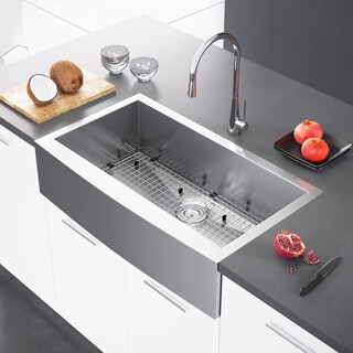 Exclusive Heritage 36 x 21 Single Bowl Stainless Steel Kitchen Farmhouse Apron Front Sink - 36 x 21 (2 options available)
