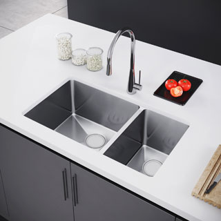 Exclusive Heritage 31 x 18 Double Bowl 70/30 Undermount Stainless Steel Kitchen Sink