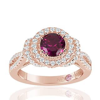 Suzy Levian Rose Sterling Silver Created Ruby and White Cubic Zirconia Anniversary Ring|https://ak1.ostkcdn.com/images/products/P20143946w.jpg?impolicy=medium