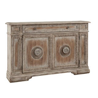 Hand Painted Distressed Antique White and Worn Wood Finish Credenza