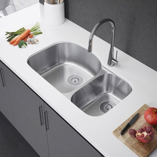 Exclusive Heritage 32 x 21 Double Bowl 70/30 Undermount Stainless Steel Kitchen Sink
