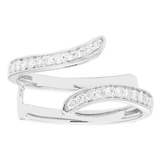 Sofia 14k White Gold 1/4ct TDW Diamond Guard Band