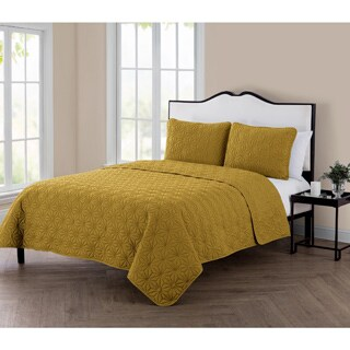 Palm Canyon Savanna 3 Piece Embossed Quilt Set