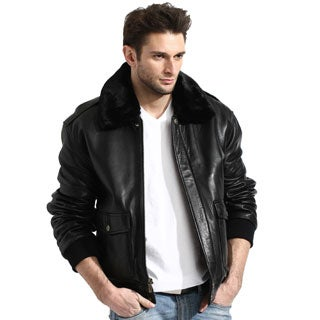 Men's Black Leather Aviator Bomber Jacket