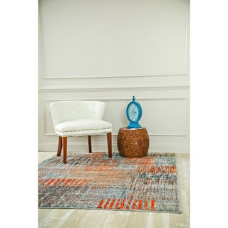 Persian Rugs Beverly Collection Grey Polypropylene Rustic Contemporary Area Rug (4' x 5'3)