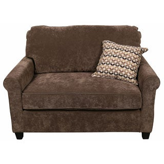 Porter Serena Warm Grey Microfiber Twin Sleeper Cuddler Loveseat with Woven Accent Pillow