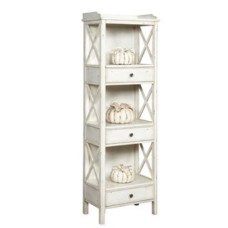 Hand Painted Distressed Antique Ivory Finish Bookcase