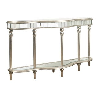 Hand Painted Distressed Metallic Silver Mirrored Console Table