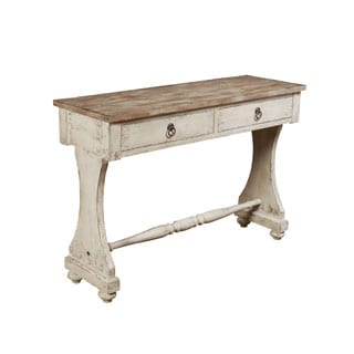 Hand Painted Distressed Weathered White Console Table