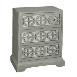 Hand Painted Distressed Weather Grey Finish Accent Chest