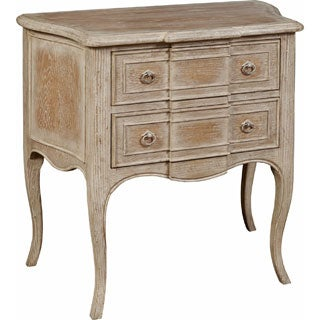 Hand Painted Distressed White Washed Oak Finish Accent Chest