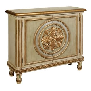 Hand Painted Distressed Cream and Gold Finish Accent Chest