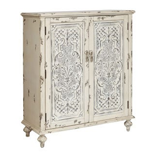Hand Painted Distressed White Finish Accent Chest