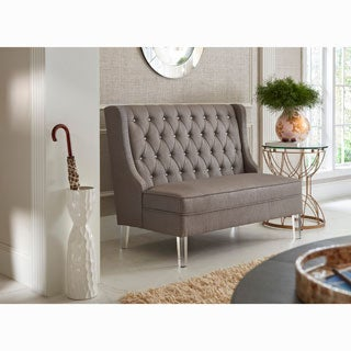 Tufted Slate Grey Fabric Banquette Bench
