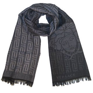 Versace Collection Grey/Black Medusa Scarf