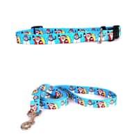 Yellow Dog Santa & Snowman Pet Standard Collar and Lead Set