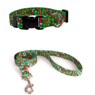 Yellow Dog Design Multicolor Christmas Stocking Pet Standard Collar and Lead Set