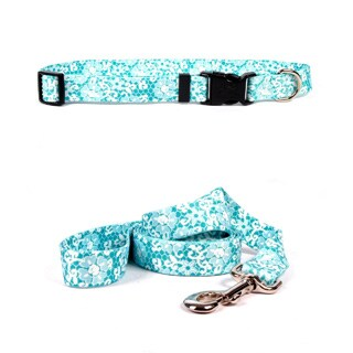 Yellow Dog Design Blue Lace Pet Standard Collar & Lead Set
