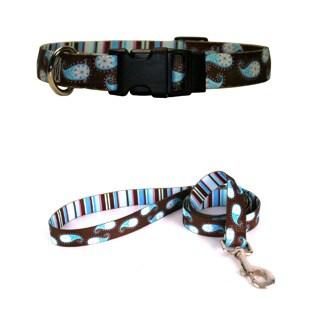 Yellow Dog Design Brown Paisley Pet Standard Collar & Lead Set