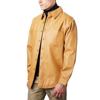 Men's Timber Tan Leather Shirt Jacket (Option: 54r)