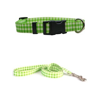 Yellow Dog Design Gingham Green Pet Standard Collar & Lead Set