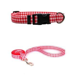 Yellow Dog Design Gingham Red Pet Standard Collar & Lead Set