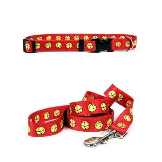 Yellow Dog Design Jingle Bells Pet Standard Collar & Lead Set